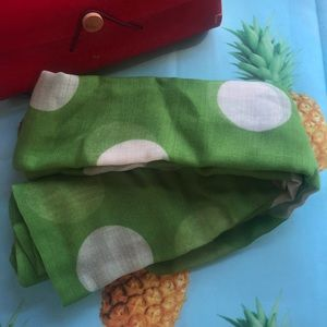 Red Wooden Case w/ Green Polka Dot Scarf